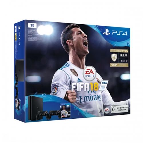 Playstation 4 1Tb черная (CUH-2108B) с игрой «FIFA 18» + 2-й Dualshock 4 + подписка PS Plus «14 дней»