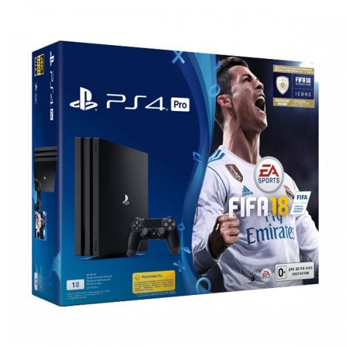 Playstation 4 Pro 1Tb черная (CUH-7008B) с игрой «FIFA 18»
