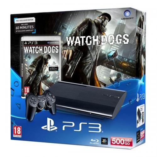 Playstation 3 Super Slim 500Gb черная с игрой «Watch Dogs»