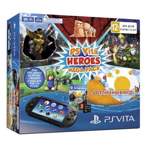 PS Vita 2016 Wi-Fi + карта 8 Gb + Heroes Mega Pack