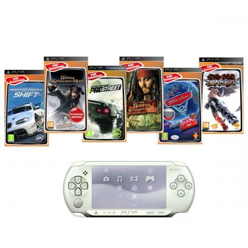 PSP E1008 Street белая + 6 игр