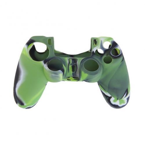 Силиконовый чехол для Dualshock 4 (Зеленый камуфляж)