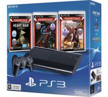 Playstation 3 Super Slim 500Gb черная с игрой «Heavy Rain» + «Gran Turismo 5» + «Uncharted 3»