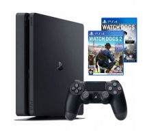 Playstation 4 1Tb Slim черная (CUH-2008B) с игрой «Watch Dogs 2» + «Watch Dogs»
