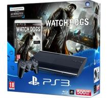 Playstation 3 Super Slim 500Gb черная с игрой «Watch Dogs»