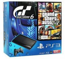 Playstation 3 Super Slim 500Gb черная с игрой «GTA V» + «Gran Turismo 6»