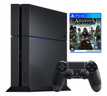 Playstation 4 1Tb черная с игрой «Assassins creed. Синдикат» + «Watch_Dogs»