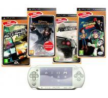 PSP E1008 белая + 4 игры
