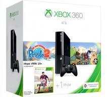 Xbox 360 4Gb E черный c игрой «Peggle 2» + «FIFA 15»