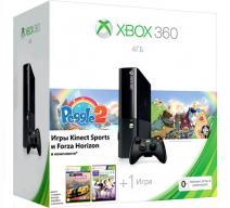 Xbox 360 4Gb E черный c игрой «Peggle 2» + «Forza Horizon» + «Kinect Sports»