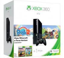Xbox 360 4Gb E черный c игрой «Peggle 2» + «Forza Horizon» + «Minecraft»