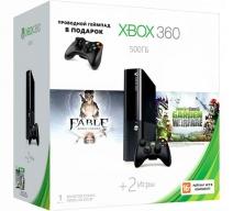 Xbox 360 500Gb E черный c игрой «Fable: Anniversary» + «Plants vs Zombies» + Проводной геймпад
